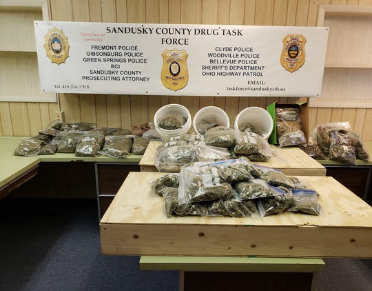 The Sandusky County Drug Task Force seized approximately 20 pounds of marijuana after executing a search warrant at a Riley Township residence on Monday.