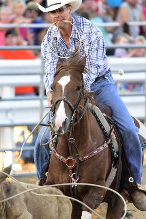 Jesse Howell of Medina competes in tie down roping during the Broken Horn Rodeo at the 2018 Ottawa County Fair. The Broken Horn Rodeo is coming to Fremont in August for the Sandusky County Fair.