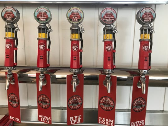 Tap handles at Red Truck Beer.