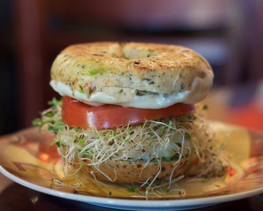 The Greenepeace bagel from Tuckaway Cafe on Fort Myers Beach.