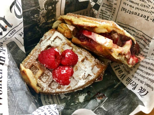 The Seriously!?! Wafflewich from Bullig Coffee & Bites features Nutella, brie and fresh raspberries.