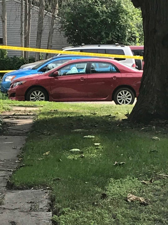 A car was damaged during a shooting near the 800 block of East Walnut in Green Bay on Tuesday, Aug. 14, 2018.