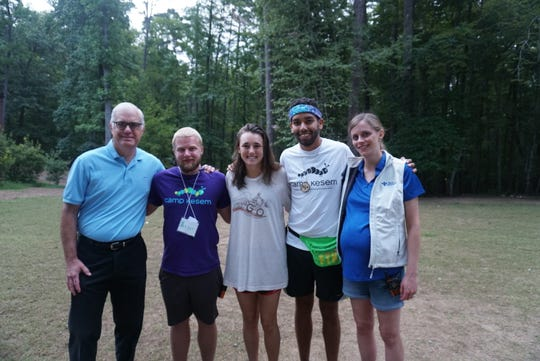 Dr. Robert Siegel and Dean Legg with Torrey Krieger, co-director of Camp Kesem at Clemson, Jean-Luc Rivera, regional Director for Camp Kesem, and Bon Secours social worker Melissa Potter.