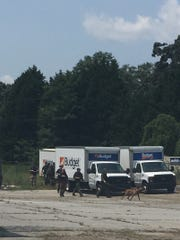 Deputies search for a suspect in a half-mile radius of White Horse Road from Lily Street to Saluda Dam Road, Flood said. K-9 units were tracking the area and roughly 20 deputies responded to the scene on Tuesday, Aug. 14, 2018.