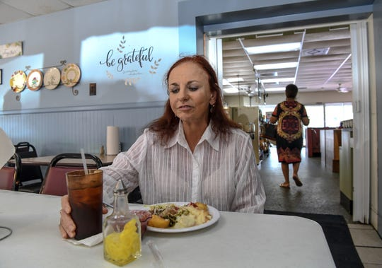 Former educator Marie Rosborough of Winnsboro sits at the Barn Xpress cafeteria for lunch in town on Monday. Rosborough expresses concern about opportunities for young people in Fairfield County. Element on state highway 321 bypass in Winnsboro is winding down to close in October following tariffs on imported parts from China. Local leaders hope an appeal to make an exception for the tariff will help keep it open.
