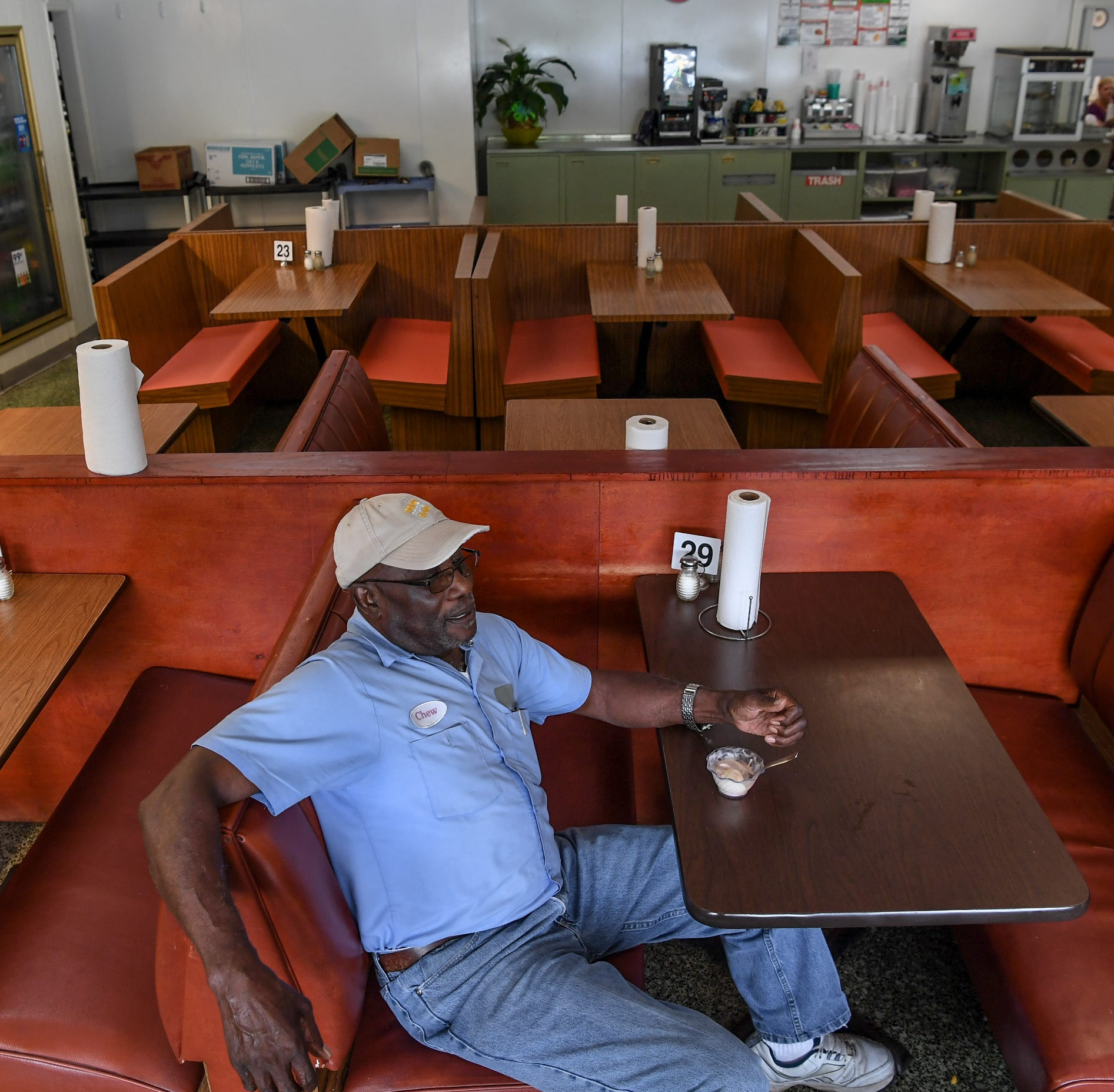 Herbert Workman of Winnsboro sits at the Barn Xpress cafeteria in Winnsboro on Monday. Workman was employed by Perry Ellis before Element electronics occupied the plant on state highway 321 in Winnsboro.  Element is winding down to close in October following tariffs on imported parts from China. Local leaders hope an appeal to make an exception for the tariff will help keep it open.