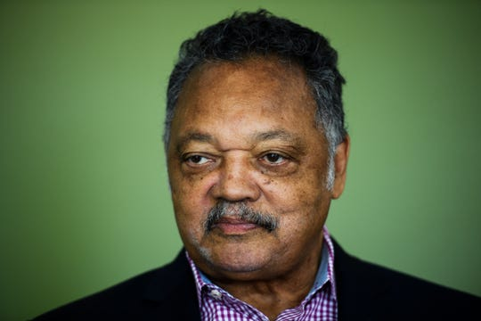 The Rev. Jesse Jackson visits The Greenville News' office to speak with reporters and editors on Tuesday, Aug. 14, 2018.