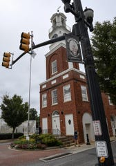 The Fairfield County Chamber of Commerce clock tower in downtown Winnsboro.