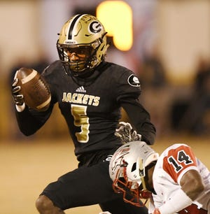 Senior wide receiver Braxton Collins (5) and the Greer Yellow Jackets are No. 3 in Class AAAA in the S.C. Prep Media Poll preseason rankings.