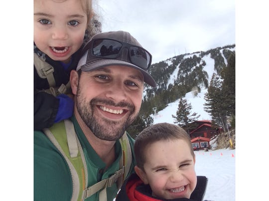 Teague Egan and his children Brecken, 5, and Brylee, 4, enjoy an outing.
