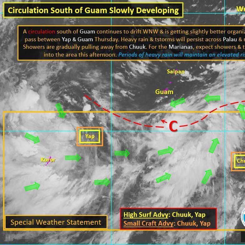 Disturbance south of Guam to bring rain, thunderstorms