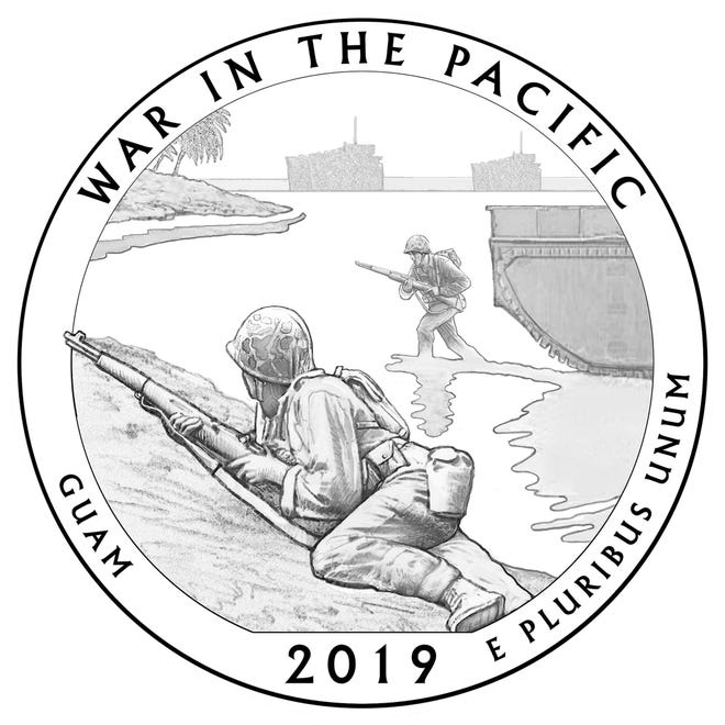 A rendering of the new U.S. quarter design will feature the War in the Pacific National Historical Park in Guam as part of the 2019 America the Beautiful Quarters Program.