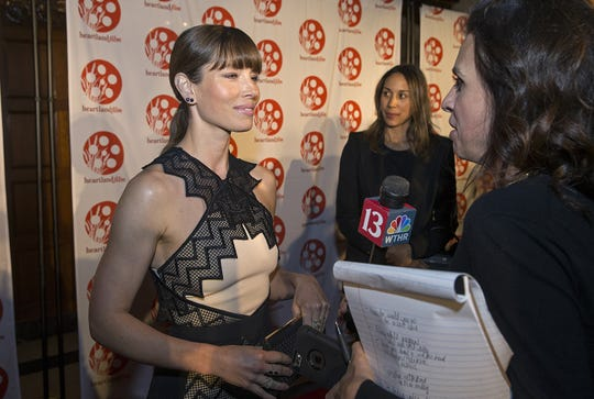 "Jessica Biel attended the 2016 Heartland Film Festival to promote the film ""The Book of Love."""
