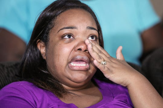 """Tia Coleman talks about how her life has changed since losing her husband and three children in the duck boat tragedy in Branson, Mo., during a press conference held at her home in Indianapolis, Tuesday, Aug. 14, 2018. """"I never want another family ever to have to go through this,"""" Coleman said. Coleman and her family members began a petition on Change.org to encourage support for a Senate bill that would require duck boats to either be reengineered for safety or banned altogether."""