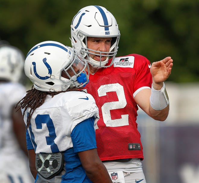 Indianapolis Colts quarterback Andrew Luck (12) directs wide receiver T.Y. Hilton (13) at the Colts training camp at Grand Park in Westfield on Tuesday Aug 21.