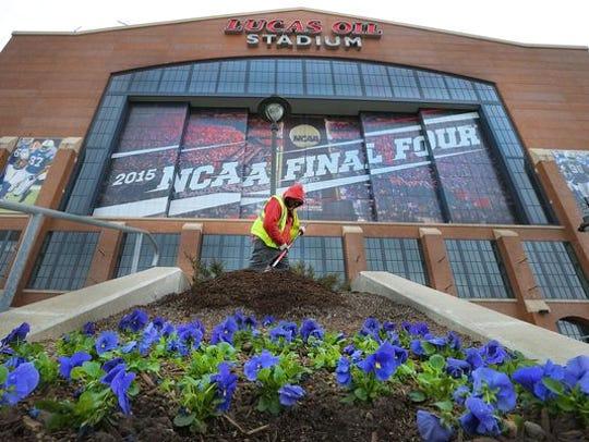 Preparing for the 2015 Final Four at Lucas Oil Stadium.