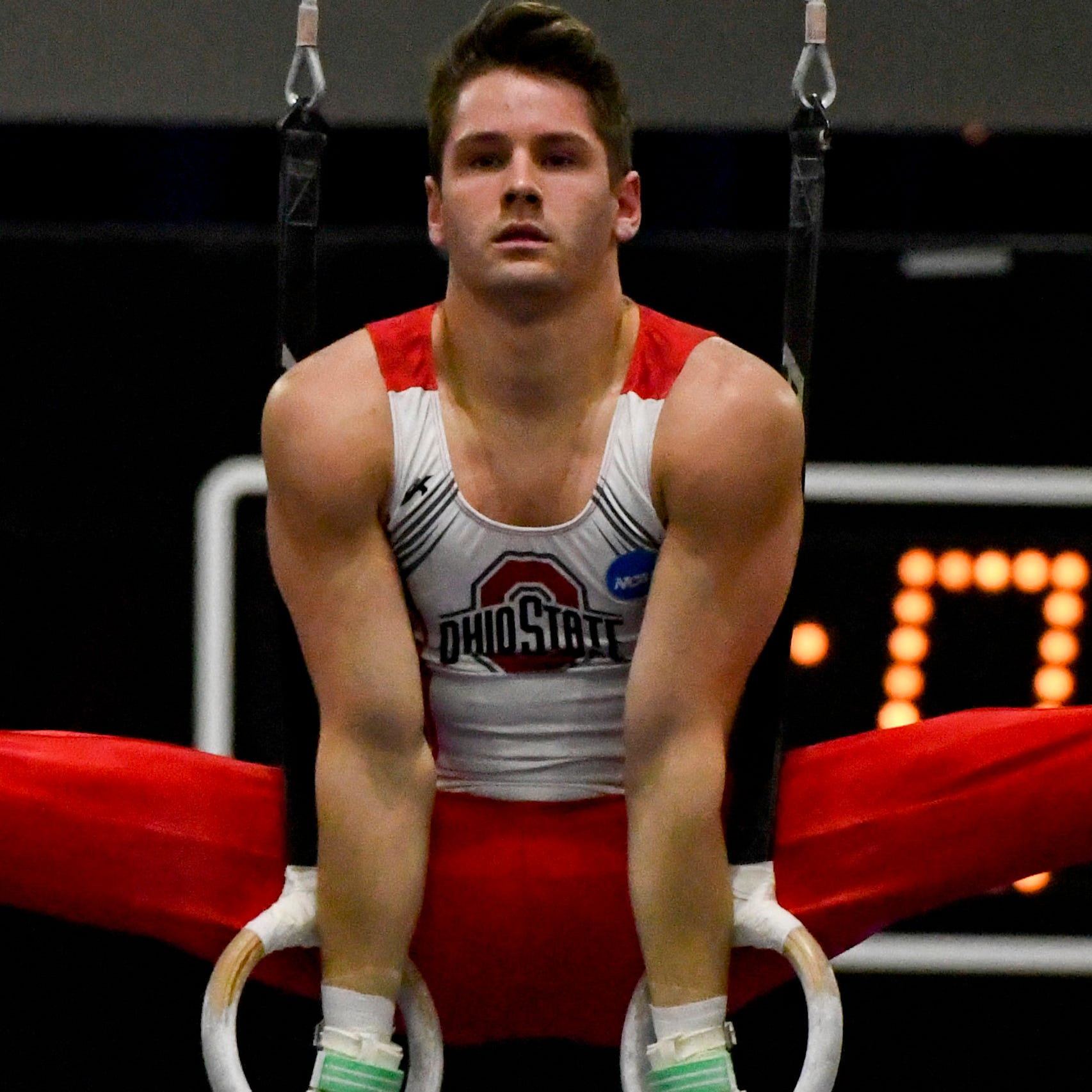 Apr 21, 2018; Chicago, IL, USA; Ohio State Buckeyes gymnast Alec Yoder competes in the rings at the NCAA National Collegiate Gymnastics Championships at UIC Pavilion.  Mandatory Credit: Matt Marton-USA TODAY Sports