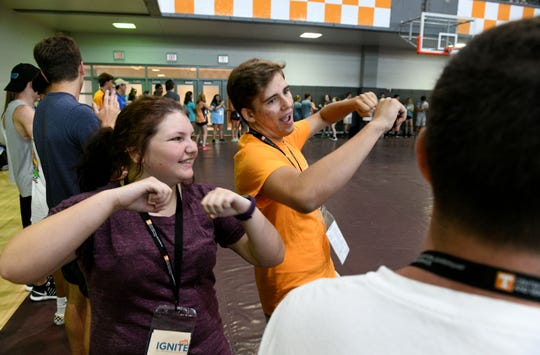 UTK students took part in team-building exercises such as painting flowerpots to be given to senior living residents and filling backpacks for students Tuesday, August 14, 2018. The team-building exercise was for the freshman class, which is slated to be the biggest in the university's history.