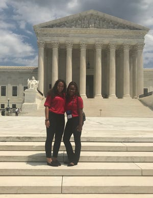 The United States Supreme Court building made a memorable backdrop for Rebecca Fisher and Terisha Grant during their July trip to the nation's capital.