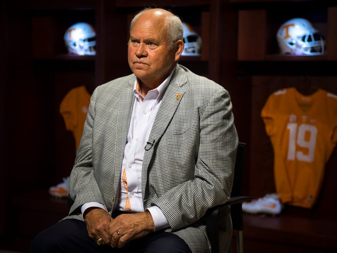 Tennessee athletic director Phillip Fulmer talks about the 1998 championship team, which he coached, during a press conference on Tuesday.