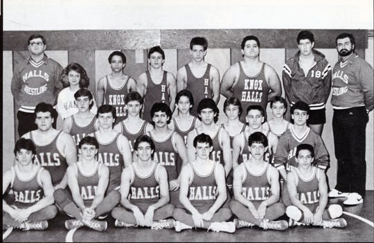 The 1988 Halls High wrestling team, coached by Chris Vandergriff, back left.