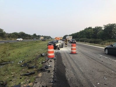 A four-vehicle crash on Interstate 65 injured two drivers, but the driver who caused the pile up didn't stop.