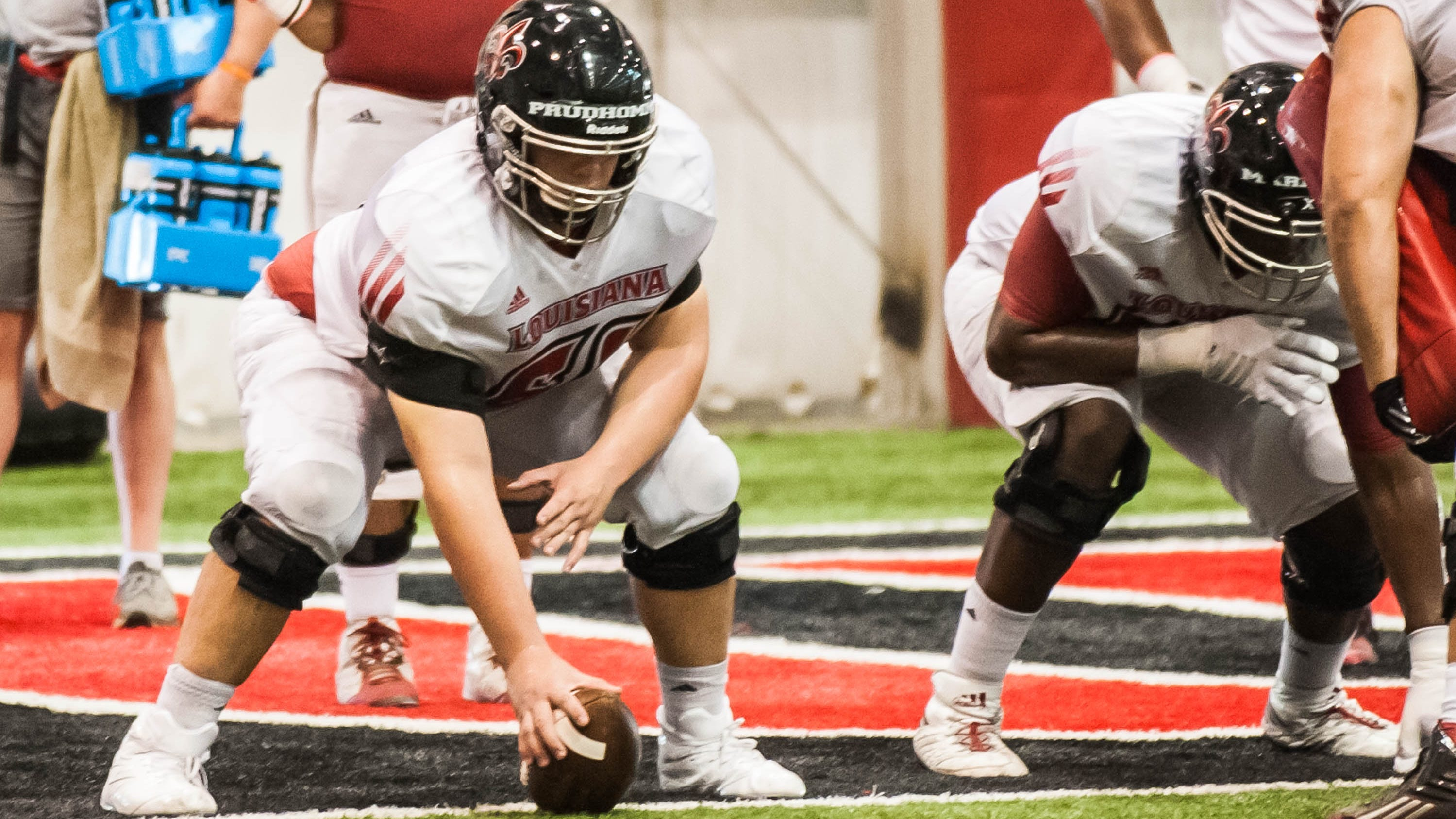 Cole Prudhomme ULL Ragin Cajun football practice on August 13, 2018./Buddy Delahousssaye Special to the Advertiser