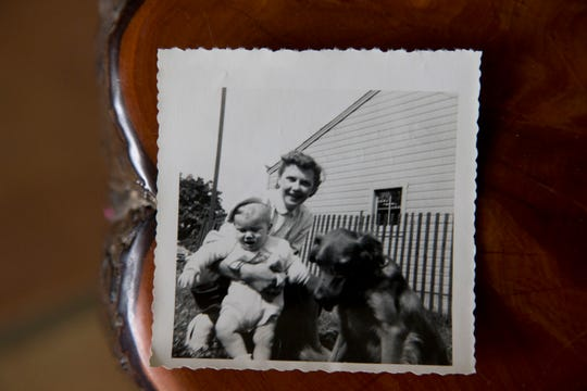 This family photograph shows Steve Dennis with his adopted mother. As a baby in 1954 Dennis was abandoned in a telephone booth in Lancaster, Ohio.