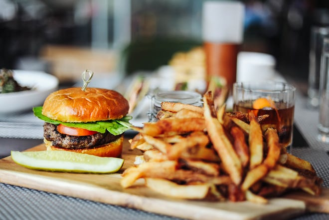 The burger at Bottle & Bond Kitchen and Bar at Bardstown Bourbon Company