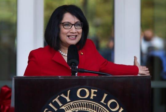 University of Louisville President Neeli Bendapudi unveiled the new Belknap Academic Building on campus Tuesday.