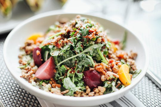 The Baby Kale Quinoa Arugula Salad at  Bottle & Bond Kitchen and Bar at Bardstown Bourbon Company.