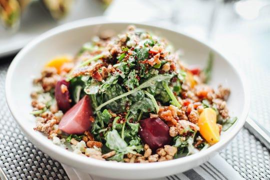 The Baby Kale Quinoa Arugula Salad at  Bottle & Bond Kitchen and Bar at Bardstown Bourbon Company.