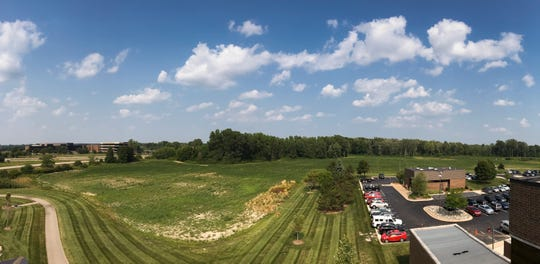 A southeasterly view from the roof of the Auto-Owners Insurance - South Campus, toward where the company plans to build an additional 231,000-square-foot office building.
