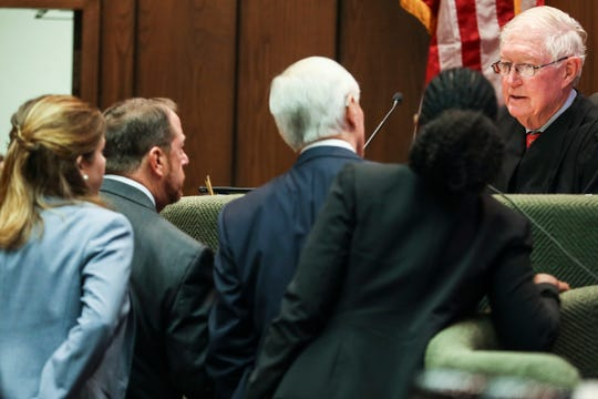 August 14, 2018 - Special Judge Bill Acree, far right, during attorney Art Horne's case.