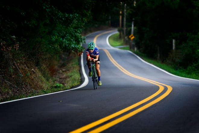 Local triathlete Laura Mathews, a graduate of St. Mary's, trains for the upcoming Ironman 70.3 World Championships in South Africa.