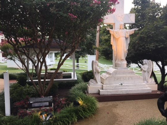 Reunited with the Presley marble cross and statues that overlooked it at Forest Hill Cemetery, the Gladys Presley tombstone has been removed from storage for display at Graceland.