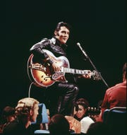 "Elvis' 1968 black leather suit was inspired by Marlon Brando's appearance in ""The Wild One."""