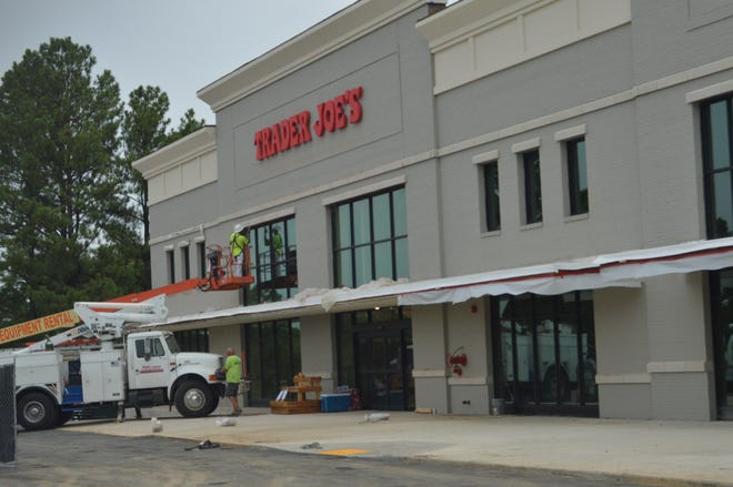 Finishing touches were being put on the front of Trader Joe's Tuesday. The store announced Tuesday it will open in September