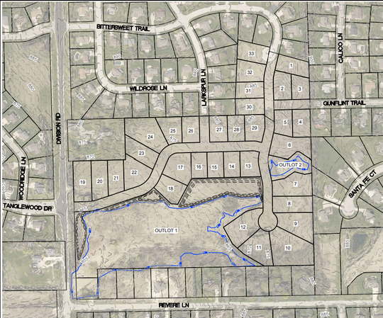 Under the concept plan, the development would see Bittersweet Trail and Larkspur Lane extended south, with another road connecting the development to Division Road.