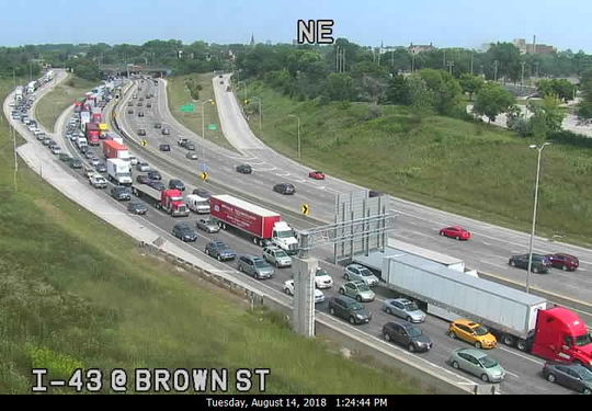 Traffic builds up on I-43 southbound after Tuesday's freeway shooting.