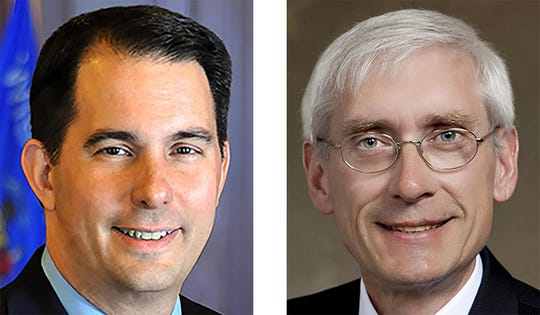 Gov. Scott Walker (left) and state schools Superintendent Tony Evers.