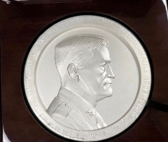 This silver medallion of Gen. Claire Chennault was created by artist Shangfang.