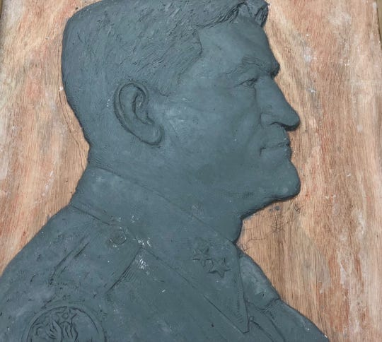 This original clay of Gen. Claire Chennault by artist Shangfang will be cast in bronze and presented to the Chennault Aviation and Military Museum.