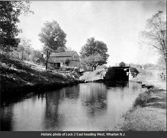 A historic photo from the early 1900's of the Morris Canal when it was in use.
