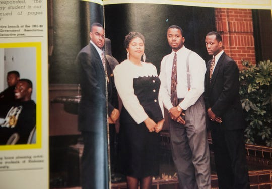 A 1991-92 ASU yearbook shows then student government president Quinton Ross, second from right, at Alabama State University in Montgomery, Ala., on Tuesday, Aug. 14, 2018. Ross took over as university president last year and will be formally inaugurated on Aug. 30.