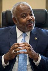 ASU President Quinton Ross talks during an interview in his office at Alabama State University in Montgomery, Ala., on Tuesday, Aug. 14, 2018. Ross took over as university president last year and will be formally inaugurated on Aug. 30.