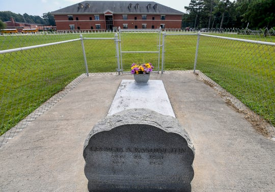 The gravesite of georgia Washington on the campus of Pike Road High School, located in the old Georgia Washington Middle School building in Pike Road, Ala., on Tuesday August 14, 2018.