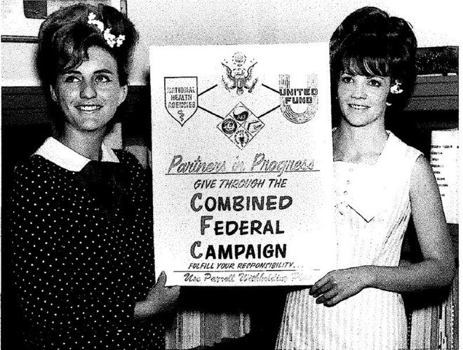 Iris Seals, left, poses for a photo with co-worker Janice Malvern to promote the 1967 Combined Federal Campaign at Brooks Air Force Base, Texas.  Photo courtesy Iris Seals.