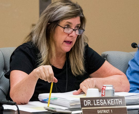 Board member Lesa Keith during a work session of the Montgomery School board in Montgomery, Ala. on Tuesday August 14, 2018.