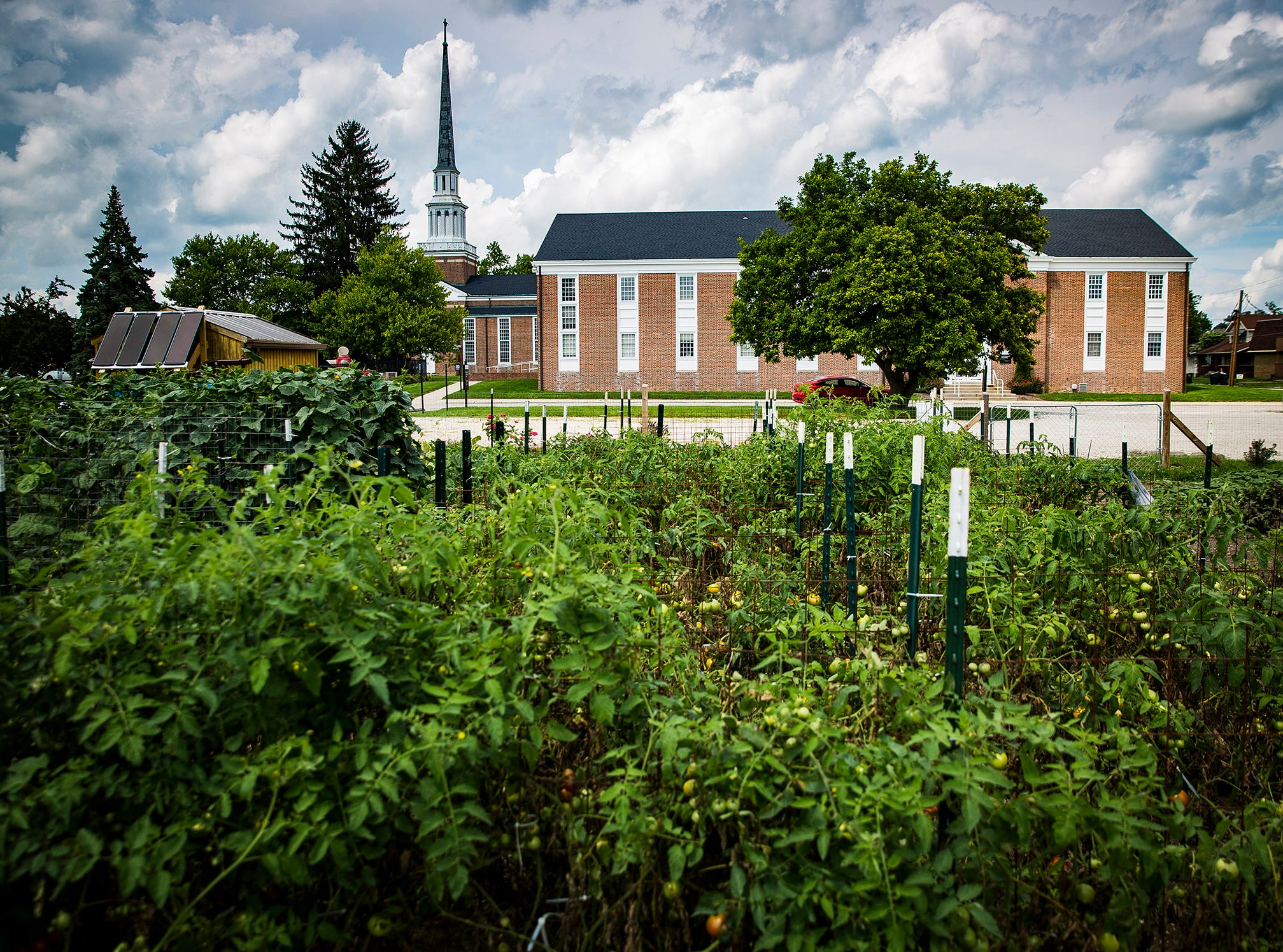 The College Avenue United Methodist Church community garden uses a solar powered irrigation system.